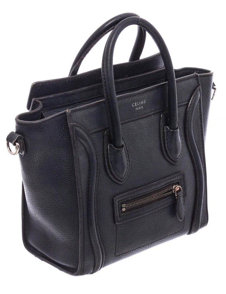 Celine Black Grained Calfskin Leather Nano Luggage Tote Bag  In Fair Condition For Sale In Irvine, CA