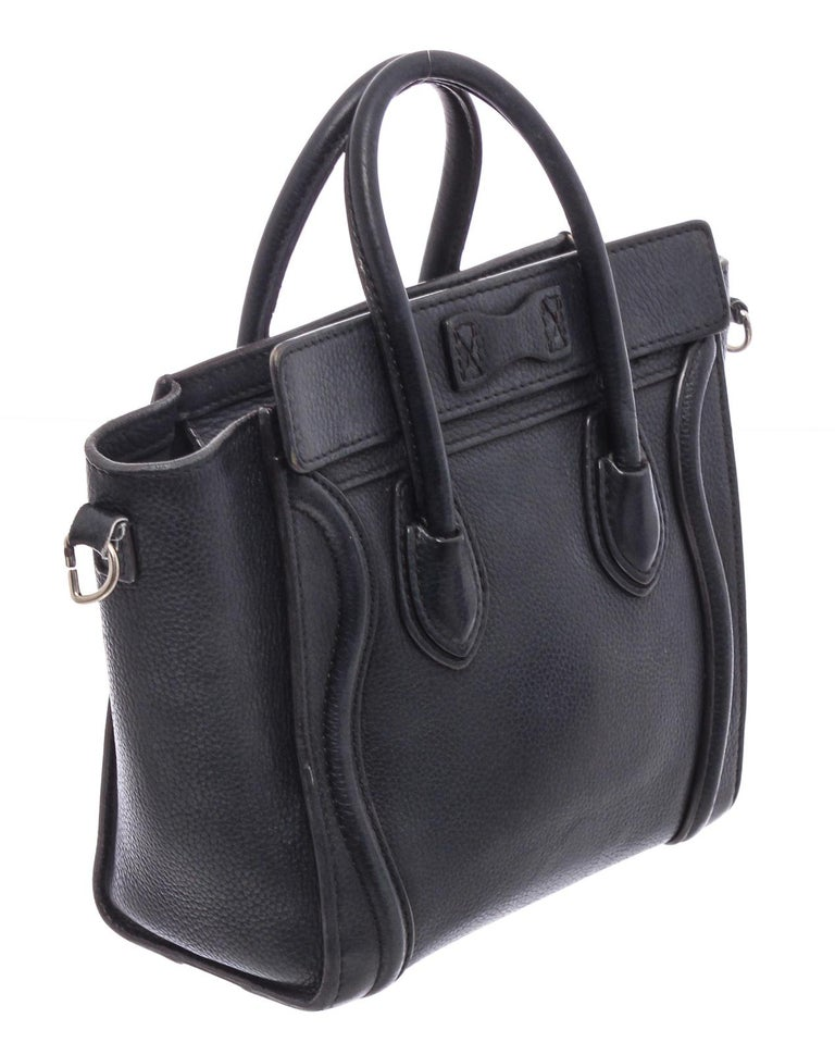 Women's Celine Black Grained Calfskin Leather Nano Luggage Tote Bag  For Sale