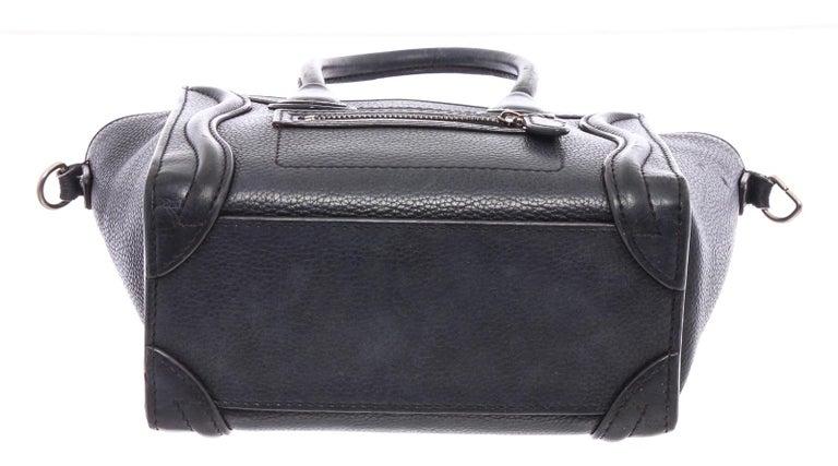 Celine Black Grained Calfskin Leather Nano Luggage Tote Bag  For Sale 1