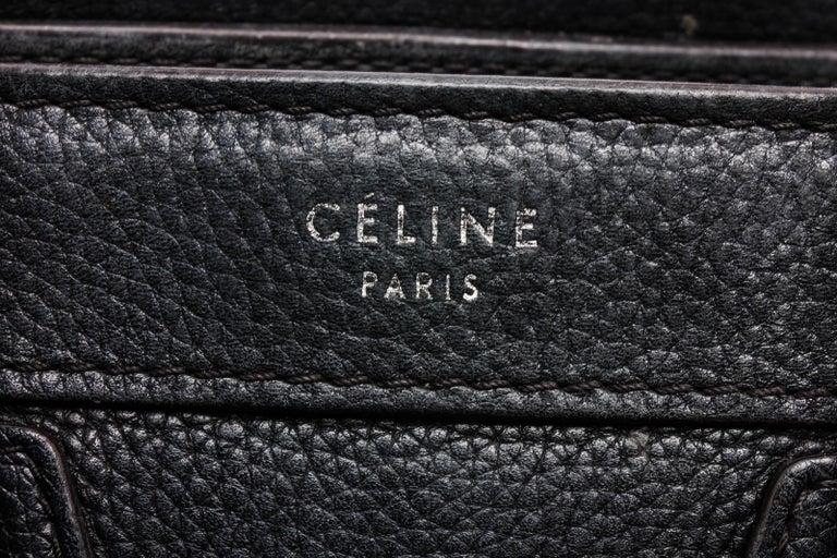 Celine Black Grained Calfskin Leather Nano Luggage Tote Bag  For Sale 2