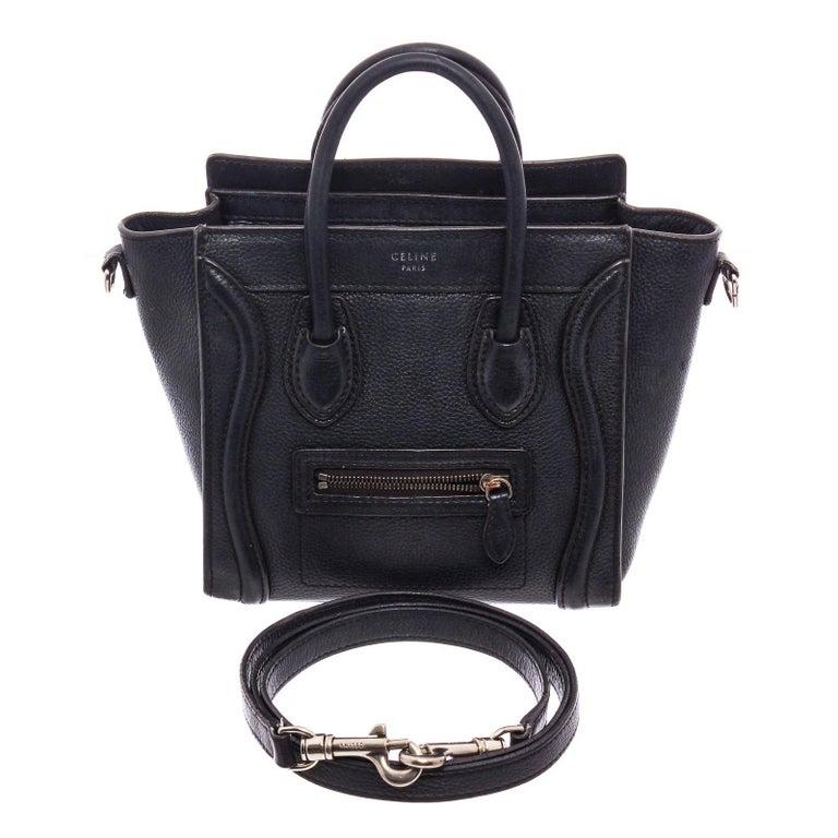 Celine Black Grained Calfskin Leather Nano Luggage Tote Bag  For Sale