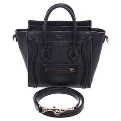 Celine Black Grained Calfskin Leather Nano Luggage Tote Bag