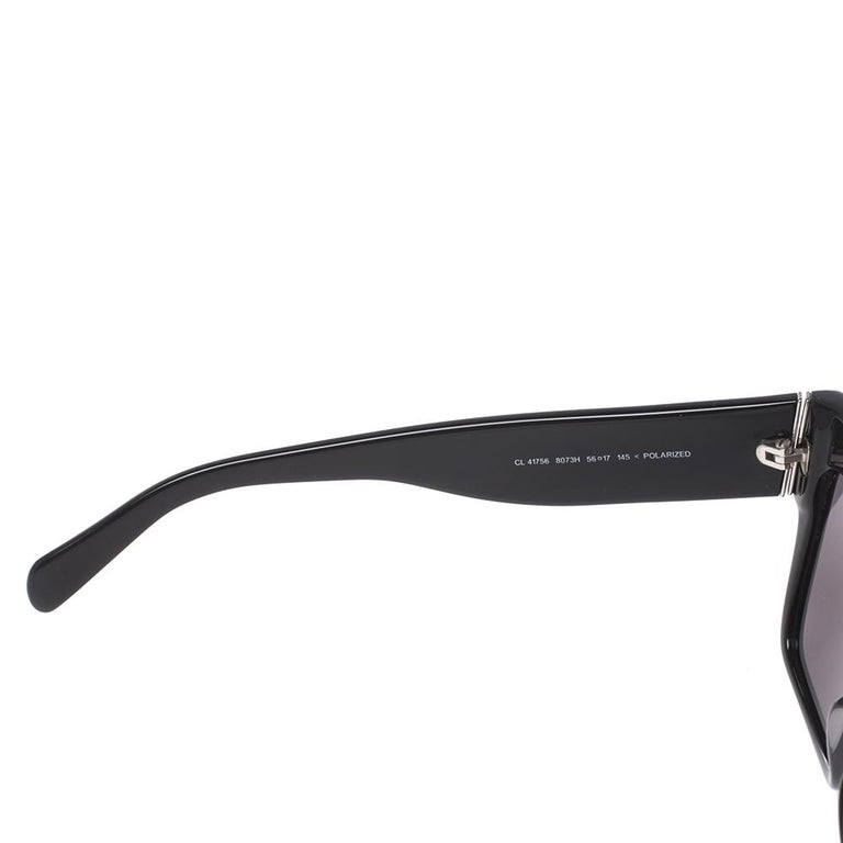 Celine Black/Grey CL 41756 Square Polarized Sunglasses For Sale 1