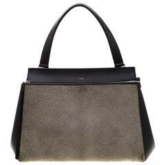 Celine Black/Grey Leather and Calf Hair Medium Edge Bag