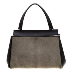 Celine Black/Grey Leather and Calf Hair Medium Edge Bag