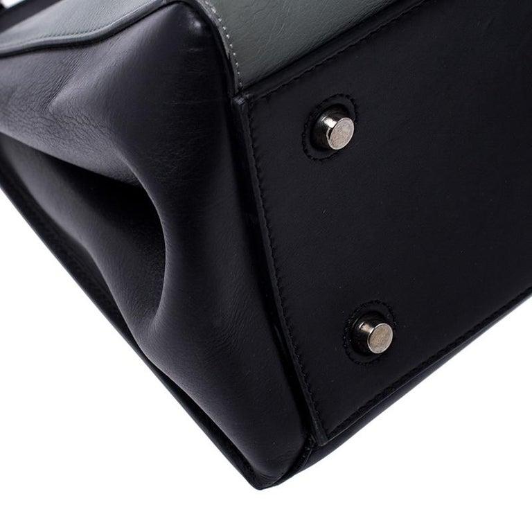Celine Black/Grey Leather Medium Edge Bag For Sale 6