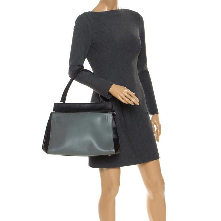 Celine Black/Grey Leather Medium Edge Bag In Good Condition For Sale In Dubai, Al Qouz 2