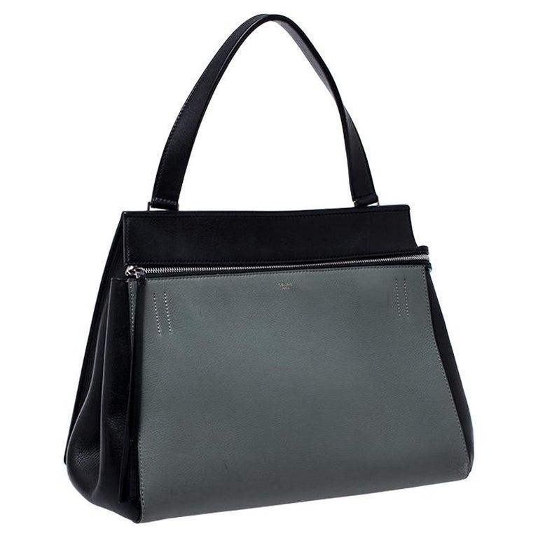 Women's Celine Black/Grey Leather Medium Edge Bag For Sale