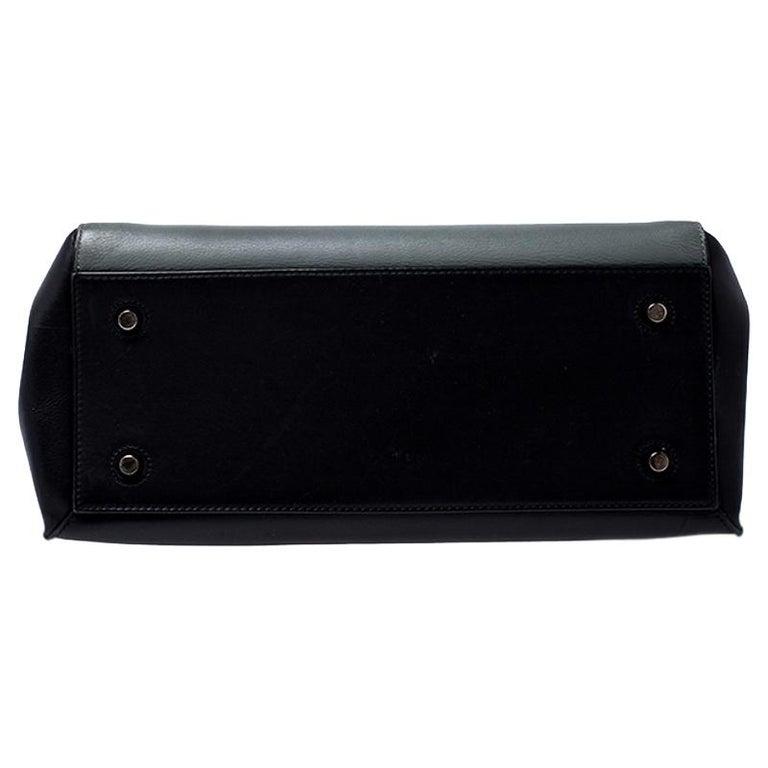Celine Black/Grey Leather Medium Edge Bag For Sale 1