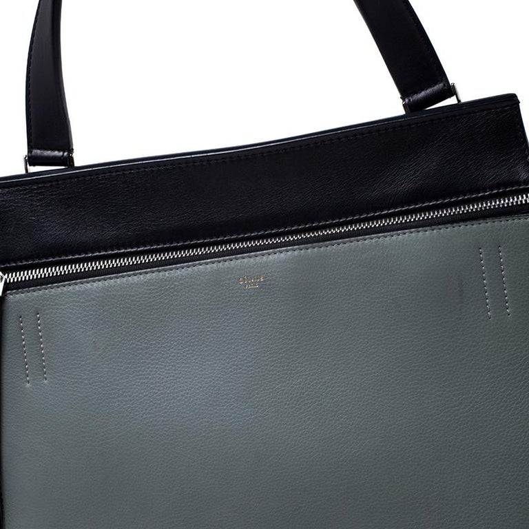 Celine Black/Grey Leather Medium Edge Bag For Sale 3