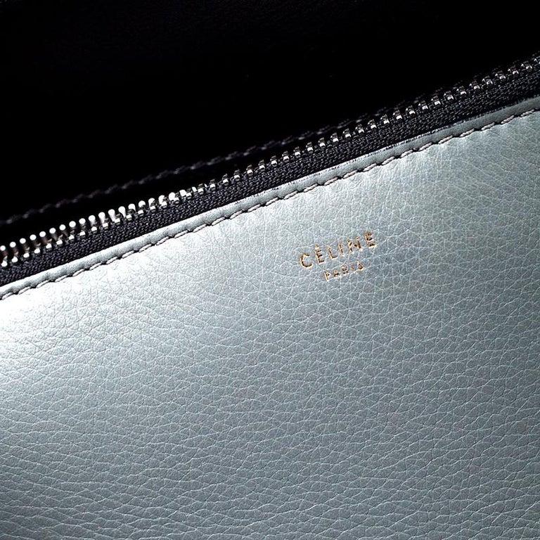 Celine Black/Grey Leather Medium Edge Bag For Sale 5
