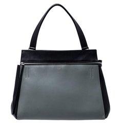 Celine Black/Grey Leather Medium Edge Bag