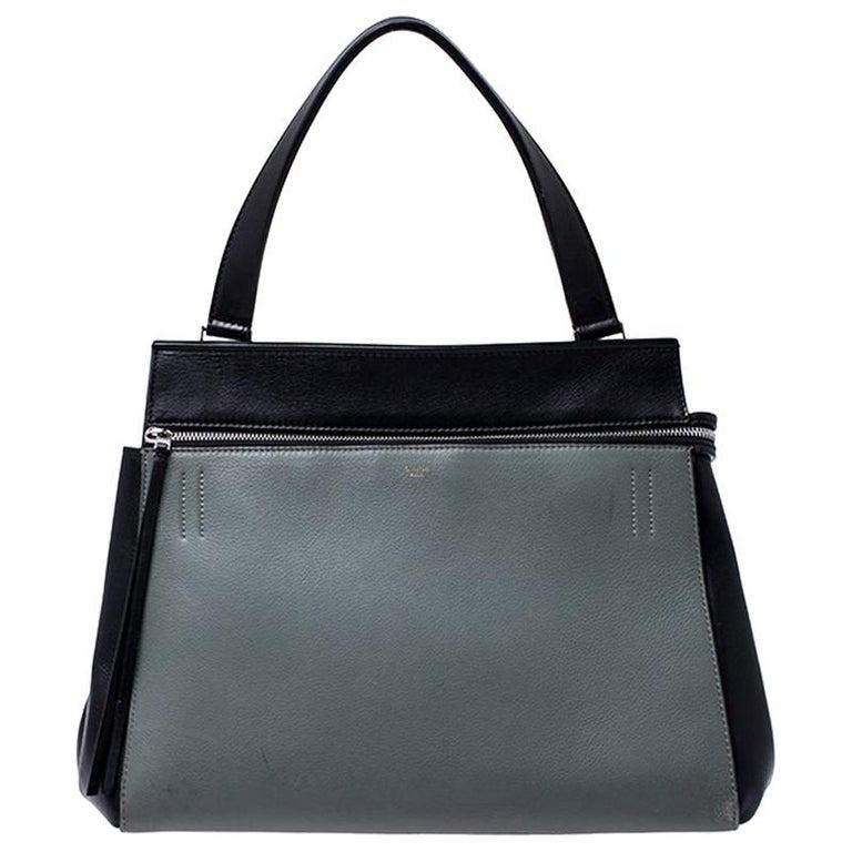 Celine Black/Grey Leather Medium Edge Bag For Sale