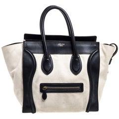 Celine Black/Ivory Canvas and Leather Mini Luggage Tote