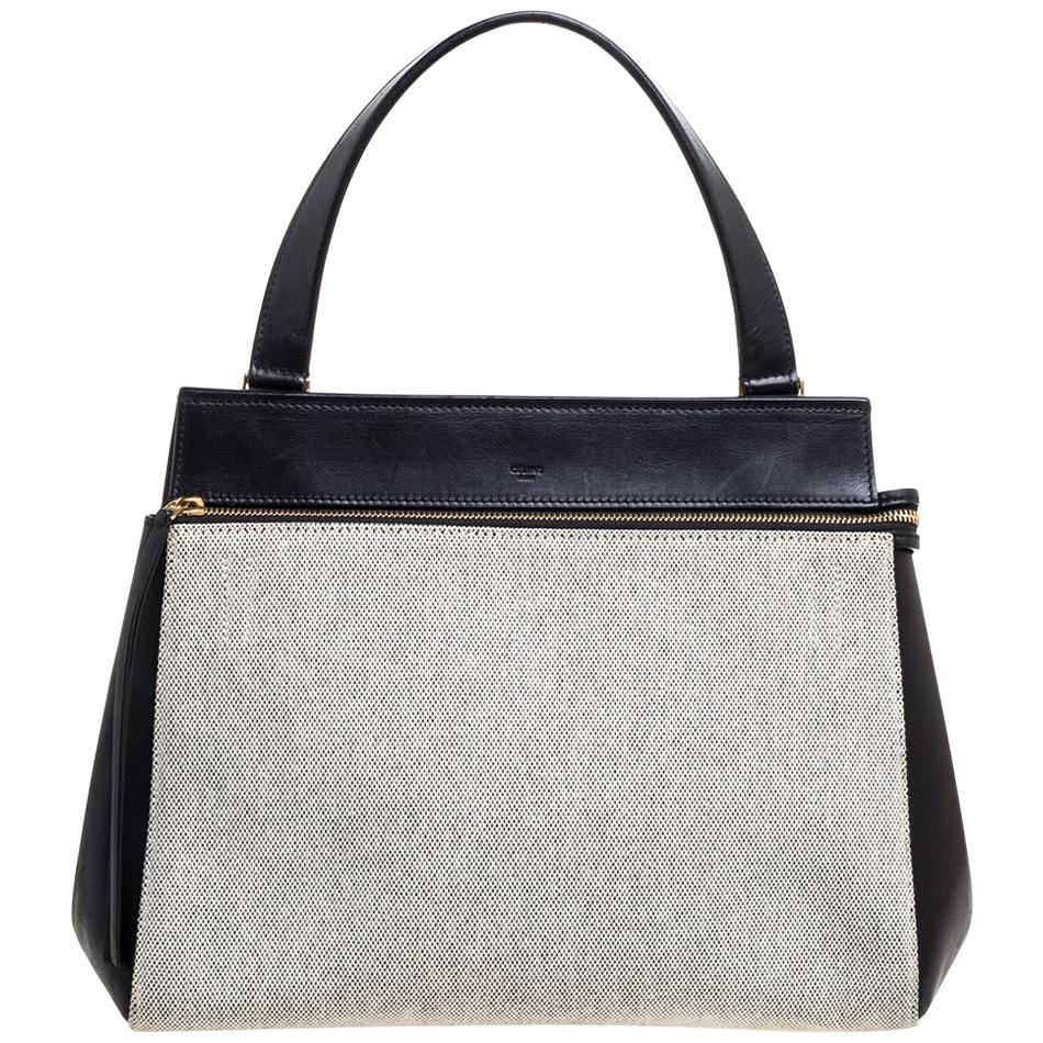 Celine Black/Ivory Leather and Canvas Medium Edge Bag