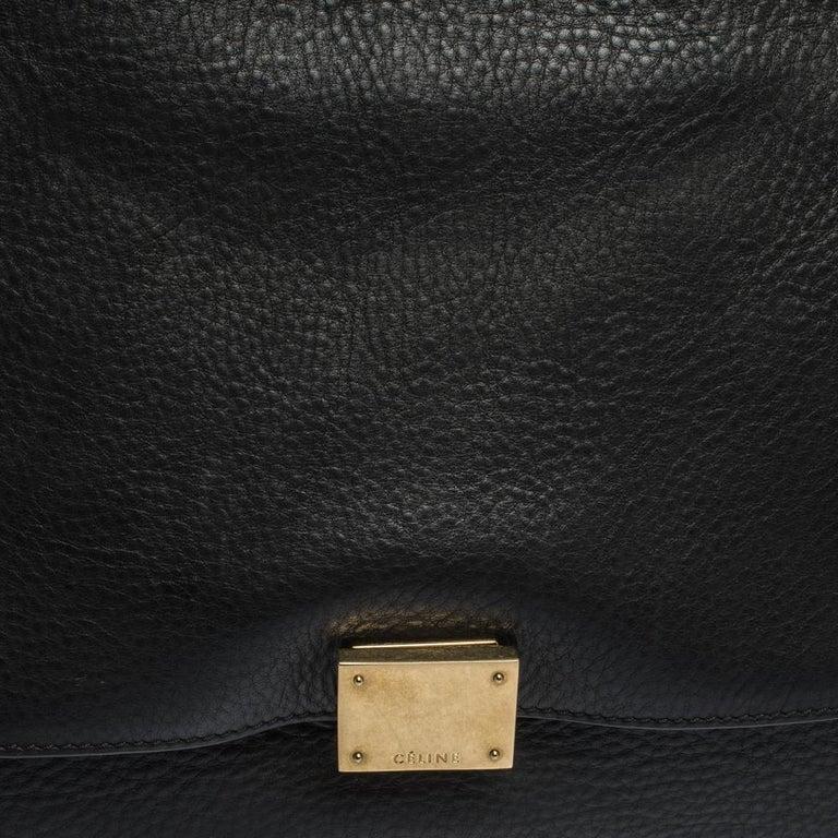 Celine Black/Khaki Leather and Suede Medium Trapeze Bag For Sale 6
