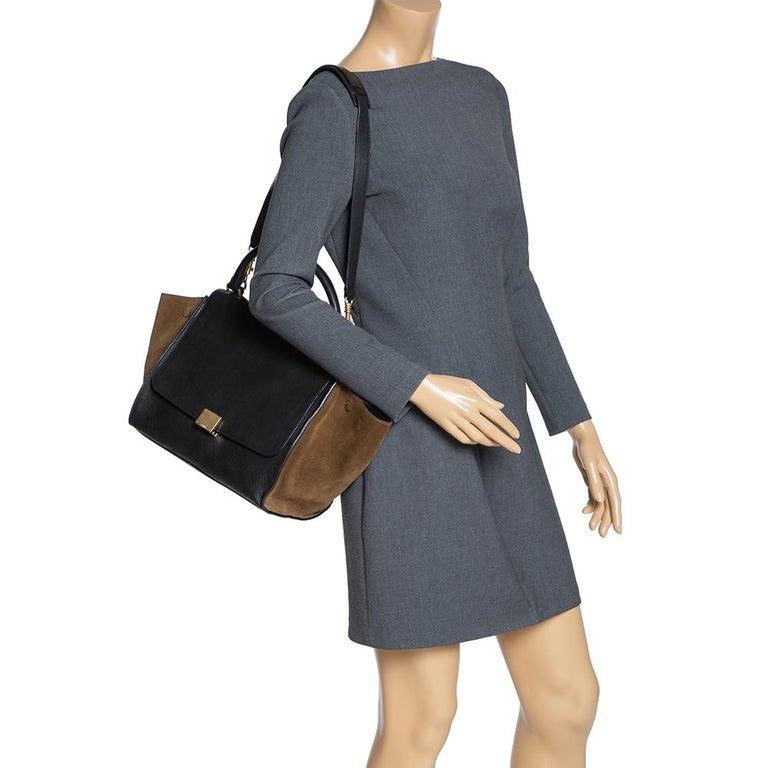 Celine Black/Khaki Leather and Suede Medium Trapeze Bag In Good Condition For Sale In Dubai, Al Qouz 2