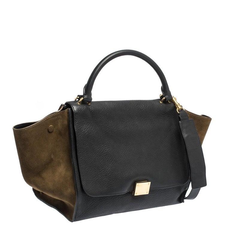 Women's Celine Black/Khaki Leather and Suede Medium Trapeze Bag For Sale