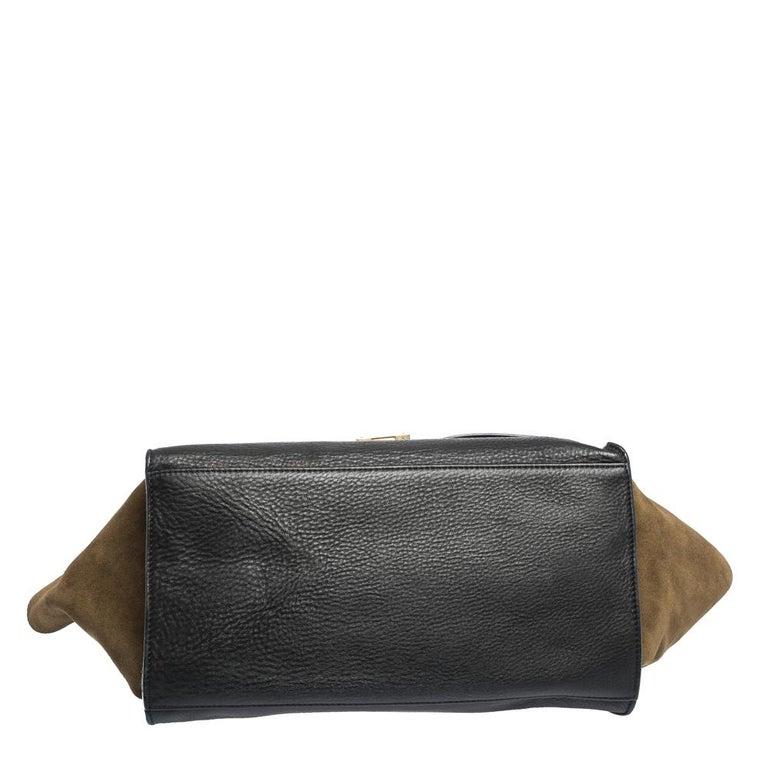 Celine Black/Khaki Leather and Suede Medium Trapeze Bag For Sale 1
