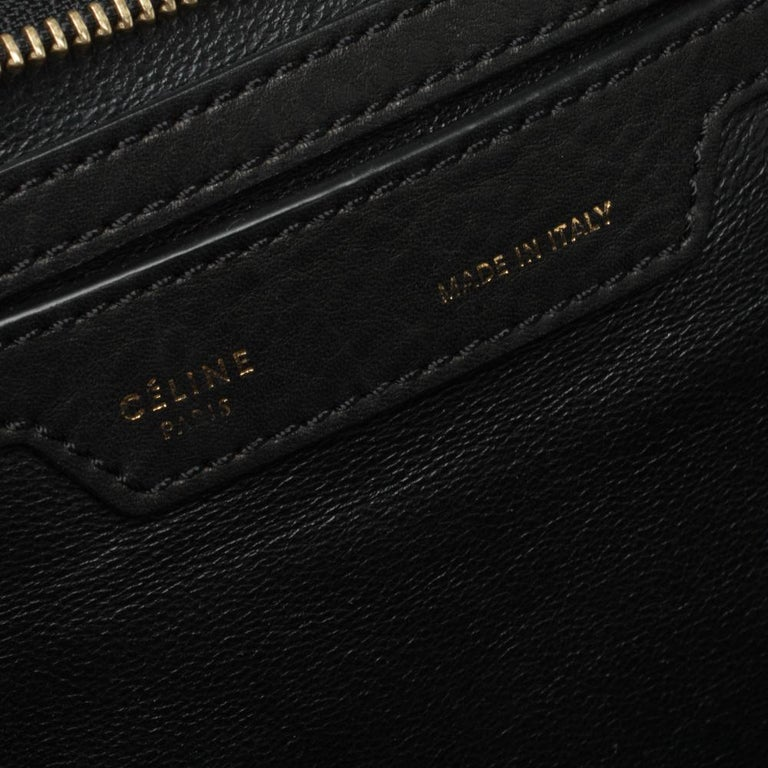 Celine Black/Khaki Leather and Suede Medium Trapeze Bag For Sale 2