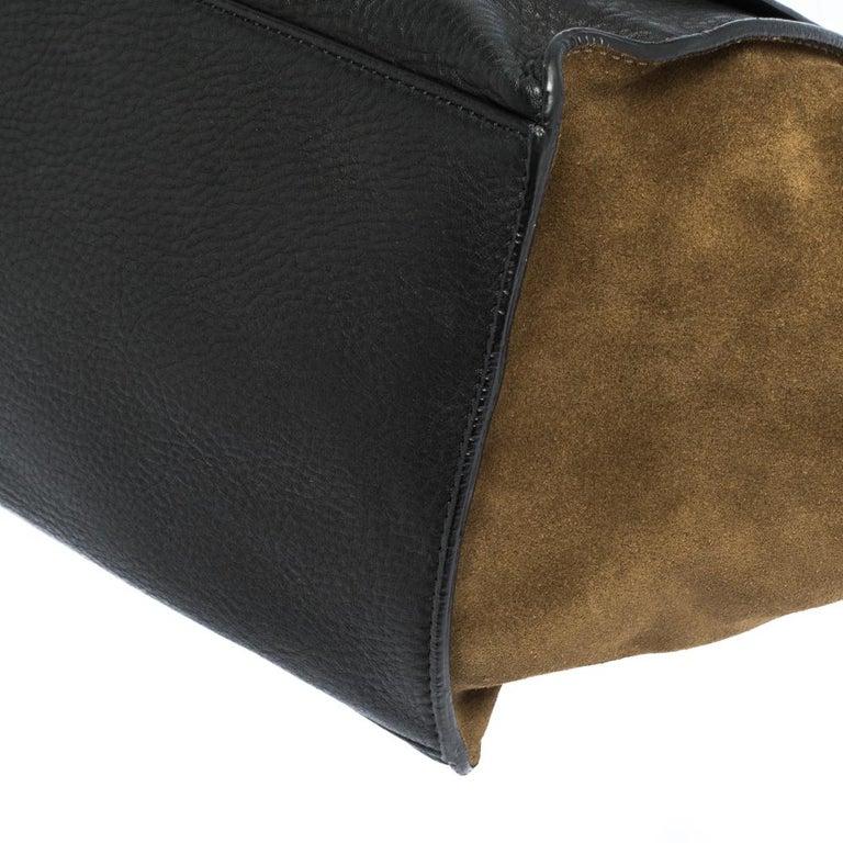 Celine Black/Khaki Leather and Suede Medium Trapeze Bag For Sale 3
