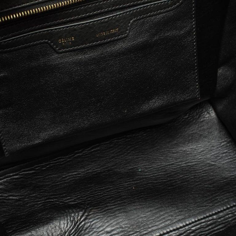 Celine Black/Khaki Leather and Suede Medium Trapeze Bag For Sale 4