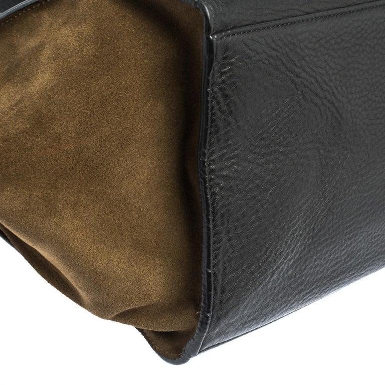 Celine Black/Khaki Leather and Suede Medium Trapeze Bag For Sale 5