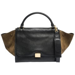 Celine Black/Khaki Leather and Suede Medium Trapeze Bag
