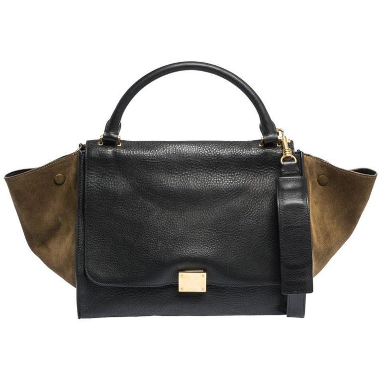 Celine Black/Khaki Leather and Suede Medium Trapeze Bag For Sale