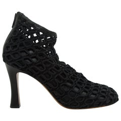 Celine Black Knotted Rope & Leather Ankle Boots