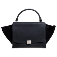 Celine Black Leather and Suede Medium Trapeze Bag