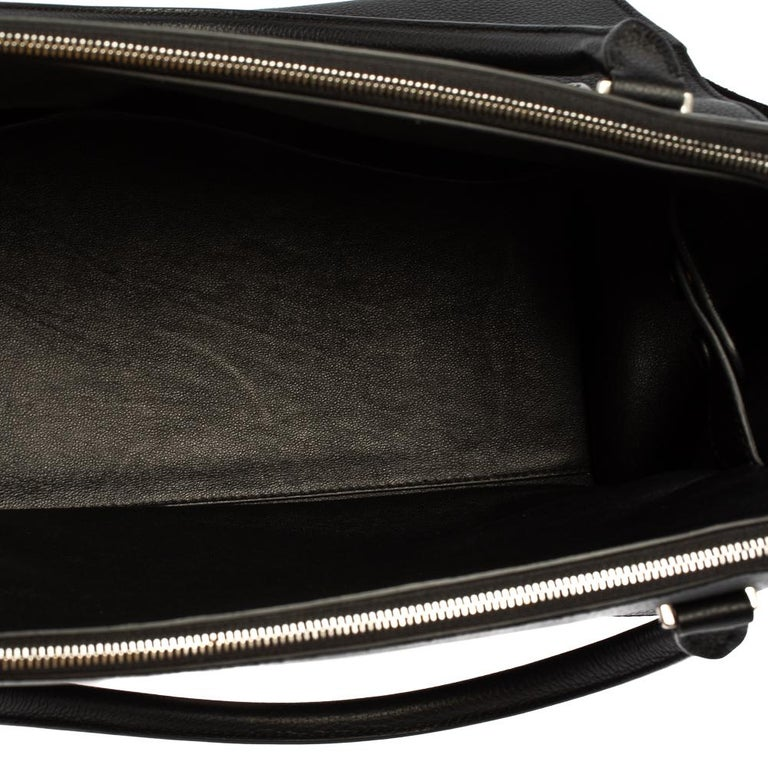 Celine Black Leather and Suede Medium Trapeze Top Handle Bag For Sale 7