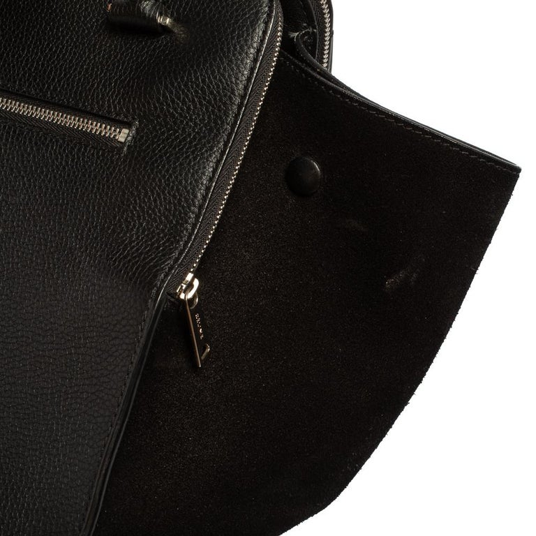 Celine Black Leather and Suede Medium Trapeze Top Handle Bag For Sale 8