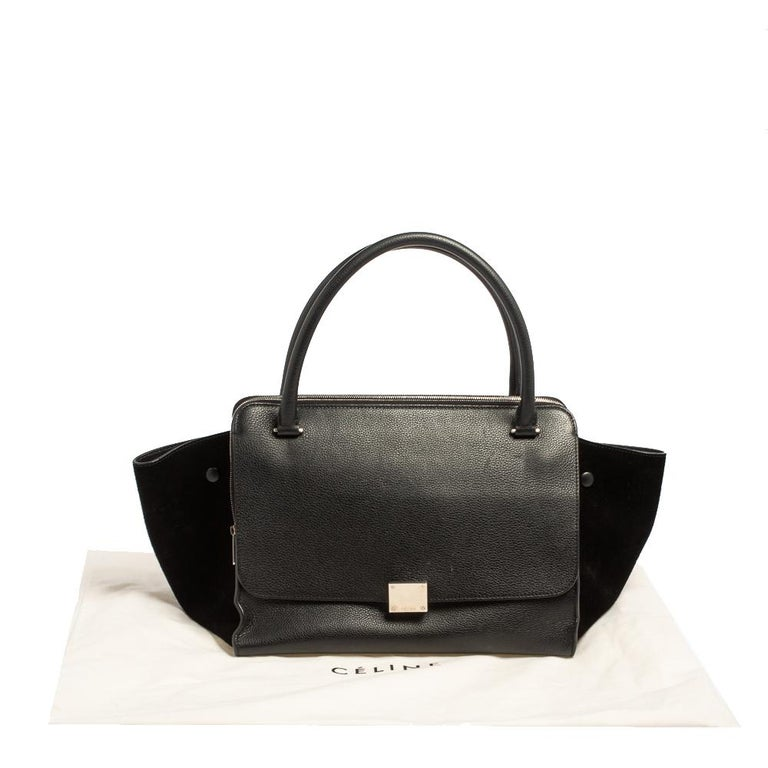 Celine Black Leather and Suede Medium Trapeze Top Handle Bag For Sale 9