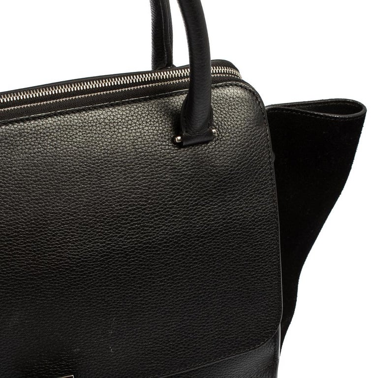Celine Black Leather and Suede Medium Trapeze Top Handle Bag For Sale 10