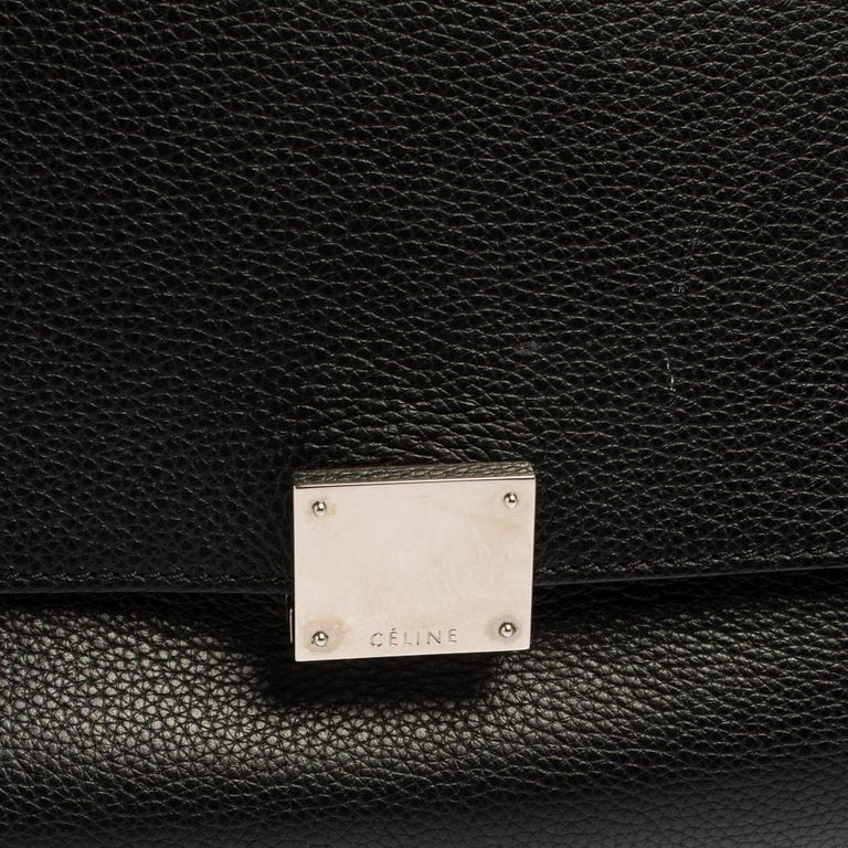 Celine Black Leather and Suede Medium Trapeze Top Handle Bag For Sale 11