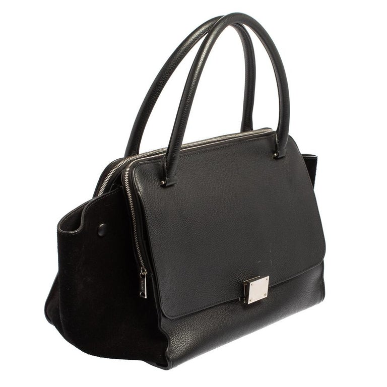 Celine Black Leather and Suede Medium Trapeze Top Handle Bag In Good Condition For Sale In Dubai, Al Qouz 2