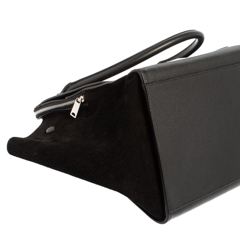 Women's Celine Black Leather and Suede Medium Trapeze Top Handle Bag For Sale