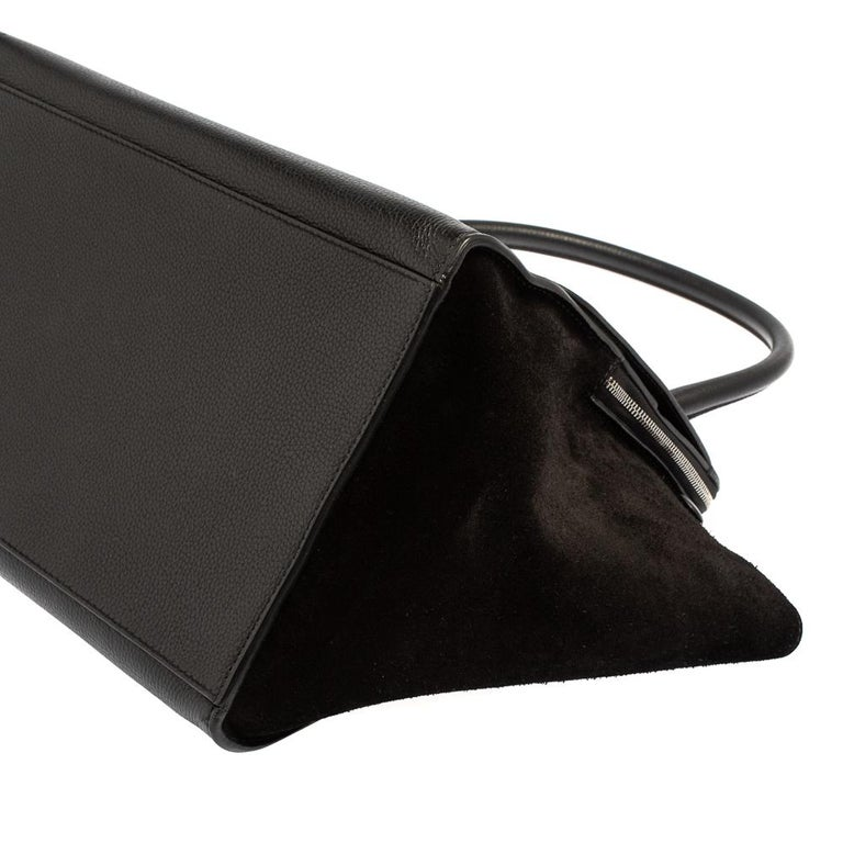 Celine Black Leather and Suede Medium Trapeze Top Handle Bag For Sale 1