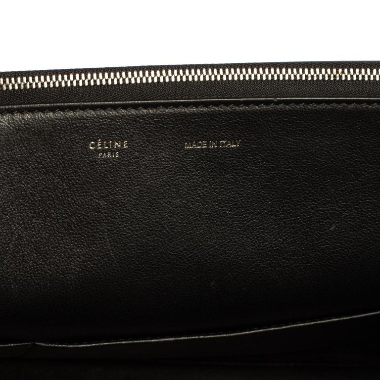 Celine Black Leather and Suede Medium Trapeze Top Handle Bag For Sale 5