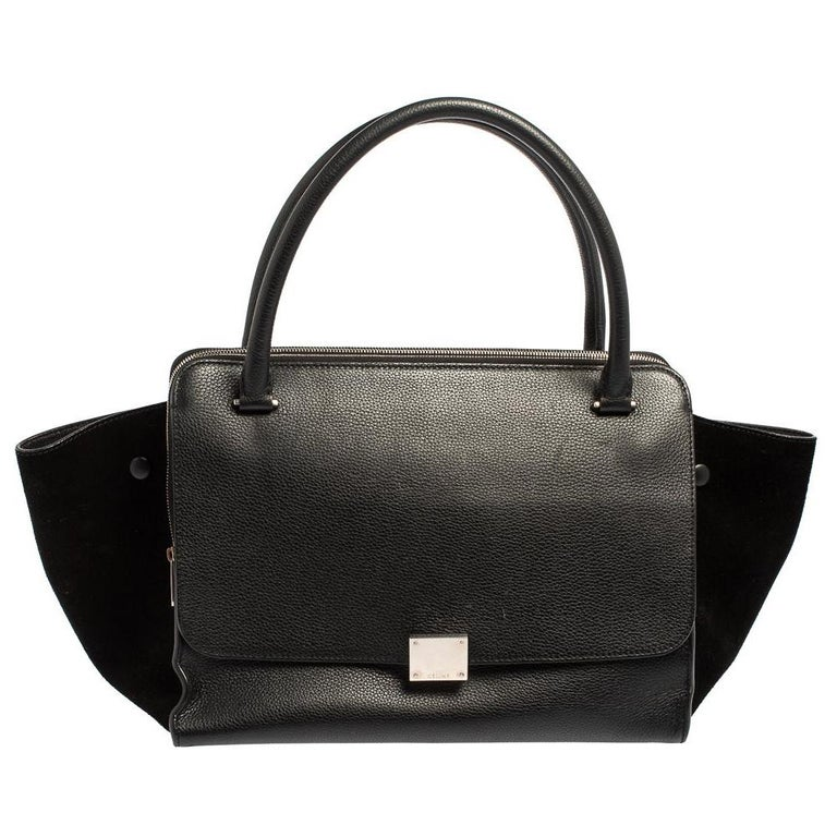 Celine Black Leather and Suede Medium Trapeze Top Handle Bag For Sale