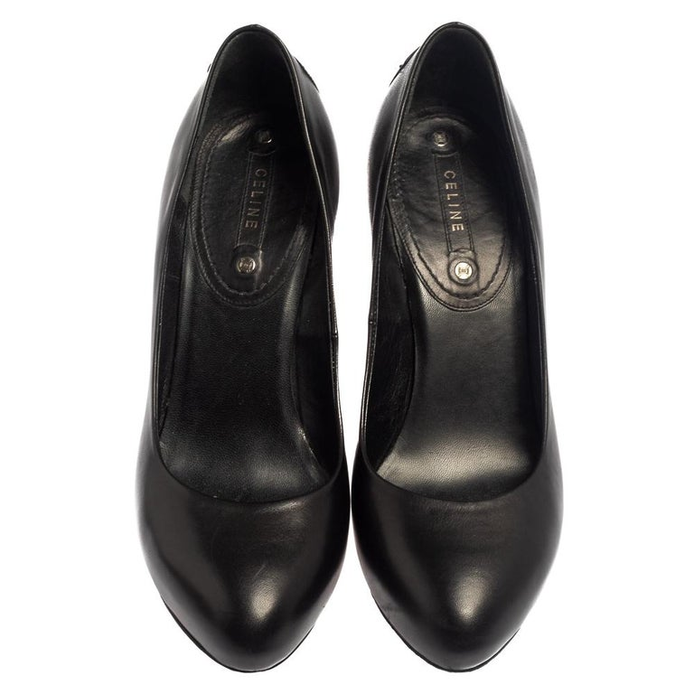 Timeless, chic, and versatile, these Celine pumps are closet essentials! Crafted from leather in a black shade, they come in an almond-toe silhouette and are raised on 12 cm heels.  Includes: Original Dustbag