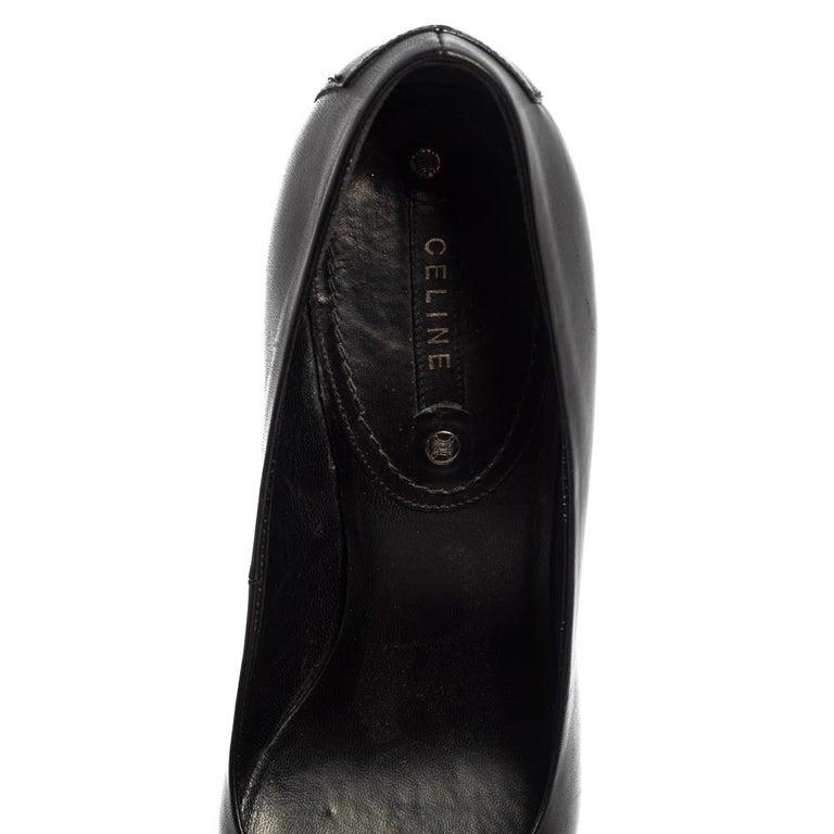 Celine Black Leather Block Heel Pumps Size 37 For Sale 2