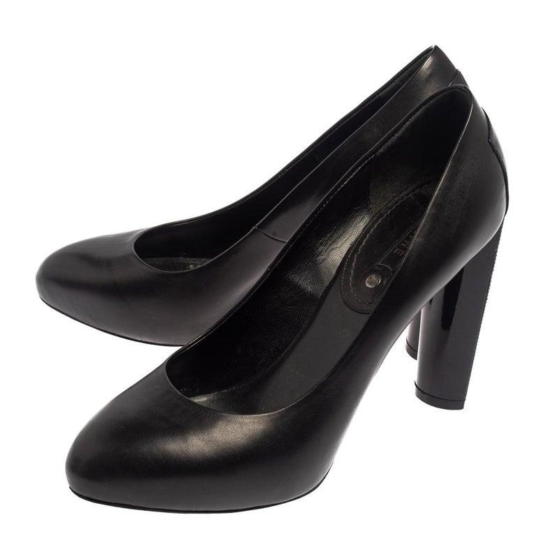 Celine Black Leather Block Heel Pumps Size 37 For Sale 3