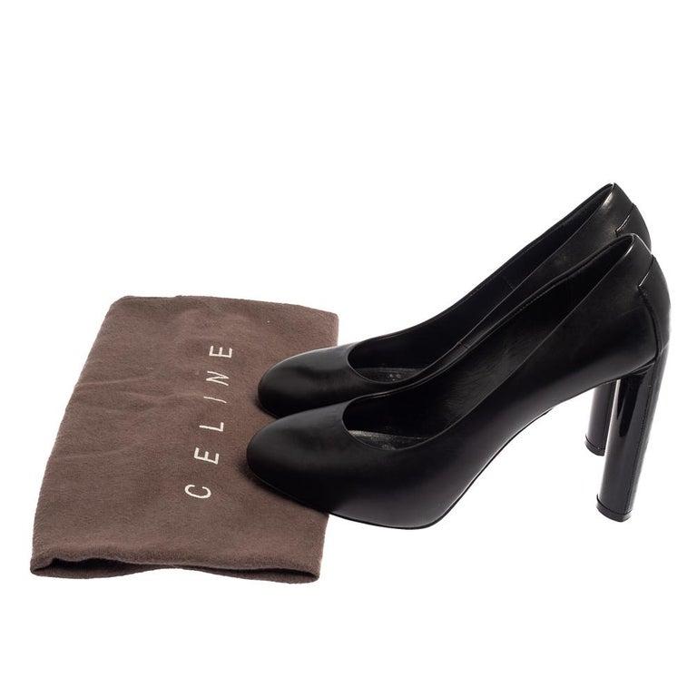 Celine Black Leather Block Heel Pumps Size 37 For Sale 4