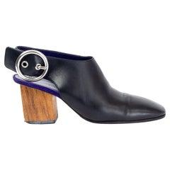 CELINE black leather BLOCK HEEL Slingback Pumps Shoes 39.5