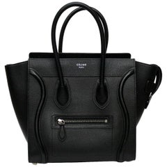 Celine Black Leather Boston Luggage Handbag