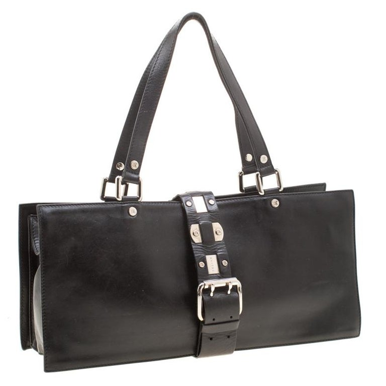 Women's Celine Black Leather Buckle Flap Tote For Sale