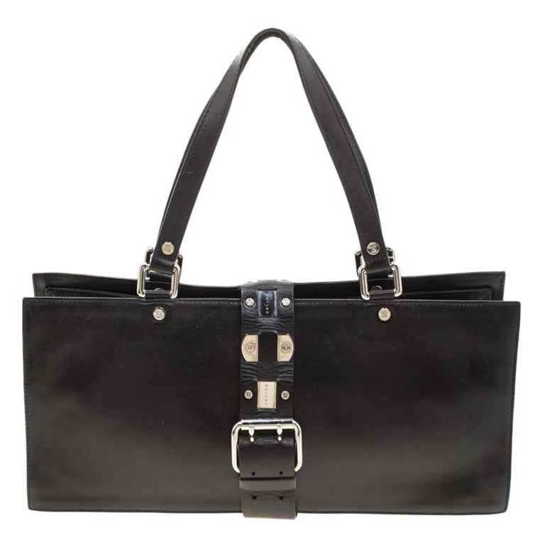 Celine Black Leather Buckle Flap Tote For Sale