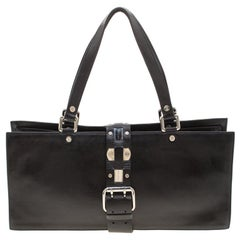 Celine Black Leather Buckle Flap Tote